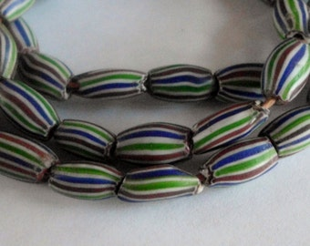 African Trade Beads- Glass- Green- Blue- Rust- Tribal- Primitive- Rustic- 1800's-  #2B