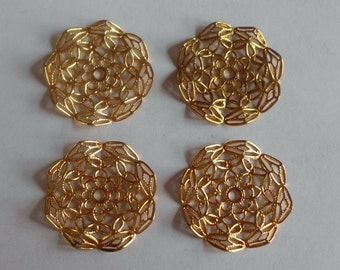 Vintage Component- Filigree- Gold Plated- Brass- Set of 4- Costume- Renaissance- Medieval