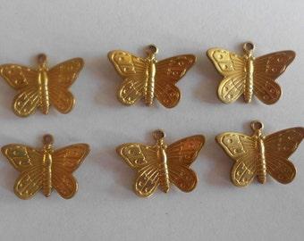 Butterflies- Vintage Charms- Garden Critters- Gold Plated- Brass- Set of 6