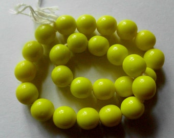Vintage Czech Glass Beads- Bright Lemon Yellow- Opaque- Set of 25