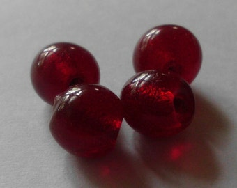 Wound Glass Beads- Vintage 1960's- Hand Wound - Deep Red- Rustic- Tribal- Primitive