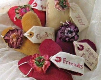 Love Notes Pincushion and Needlecase 110  Hand Embroidery Pattern Crabapple Hill Studios