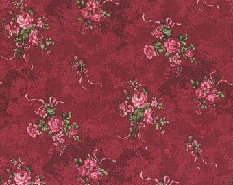 Josephine Rose Cotton Fabric Small Rose bouquets on red  by Lecien 30882-30
