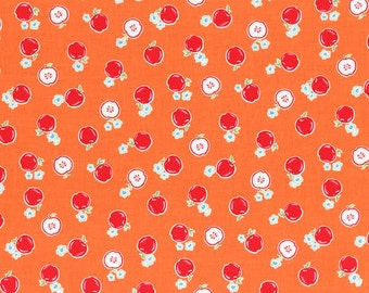 Flower Sugar Spring 2014 Apples on Orange Cotton Fabric  by Lecien 30970-40