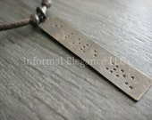 Braille 'I Love You' stamped long Brass Pendant Necklace for men or women, Anniversary Gift, Wedding Day, Boyfriend, Husband, Gift for Him