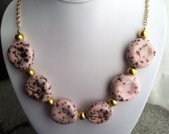 Light pink and bright gold statement necklace