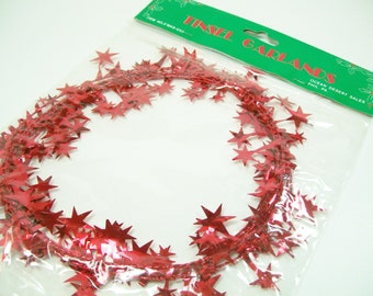 Tinsel Garland Stars Red Foil Trim Embellishment Wrap Christmas Decoration