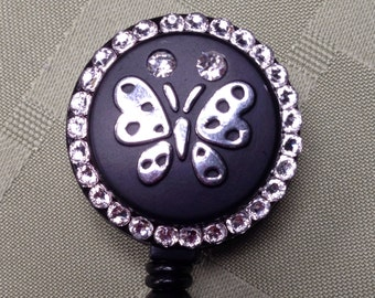 Security Badge Reel - Crystal Butterfly - Retractable Lanyard Reel - Name Tag Holder - Nurse and Doctor ID Badge Clip - Teacher Gift