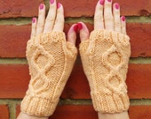 Just Peachy Short & Sweet Hand Knitted Cable Design Fingerless Gloves - Naturally Dyed Merino Wool - Organic Accessory - Ready to Ship