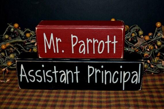 Assistant Principal custom personalized primitive wood ...