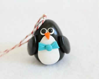 Miniature Polymer Clay Penguin Christmas Ornament