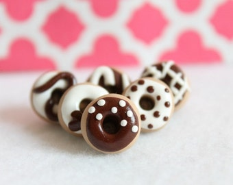 Polymer Clay Chocolate Donut Pushpins, Set of 6