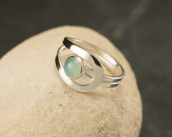 Aqua Chalcedony Ring - Blue Gemstone Ring - Sterling Silver Ring -  Aqua Mint Stone Ring -Sea Foam Green