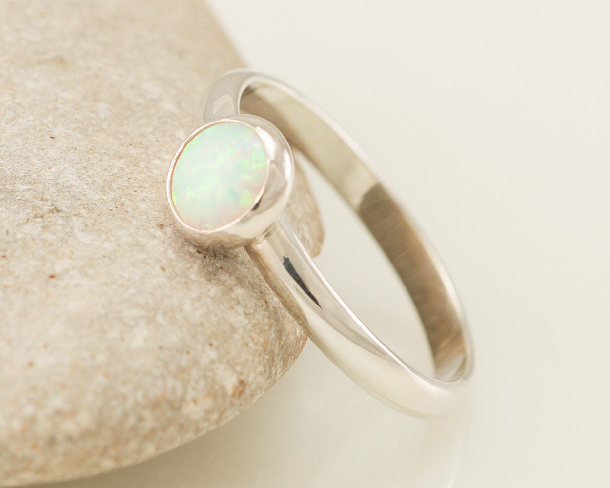 Opal Ring - Silver Opal Ring- Solitaire Ring- Opal Engagement Ring - Simple Modern Opal Ring- Sterling Silver Gemstone Ring
