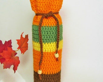 Autumn Leaves Wine Cozy Bottle Gift Bag Pumpkin Orange Sunny Yellow Coffee Brown Olive Green Stripes