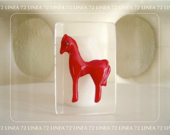 Hand Carved Brooch of Red Bakelite Pony on Transparent Lucite
