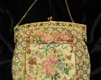 Art Nouveau Petit Point style Purse rhinestone clasp holder chain handle Marie Antionette 1920s