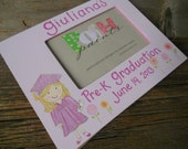 SALE, graduation frame, solid pink background, hand painted personalized frame holds 4x6 photo