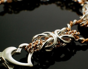 Twisted and Woven Elegance Sterling Silver and Copper Chainmail Bracelet Kit or Ready Made