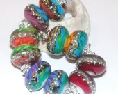 Grammy Nominee  Earring Pairs- Handmade Lampwork Glass Beads by StudioJuls SRA Rainbow colorful