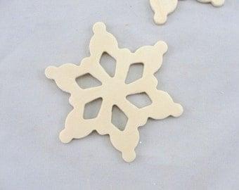 "Wooden snowflake unfinished DIY 3 1/2"" set of 5"