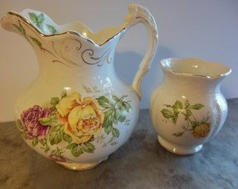 Antique Buffalo Pottery Set--Pitcher and Vase Yellow and Pink Roses