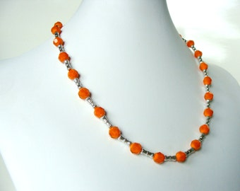 Orange silver necklace, bright colorful tangerine glass bead,  handmade fashion jewelry, Let Loose Jewelry, under 25, for her,
