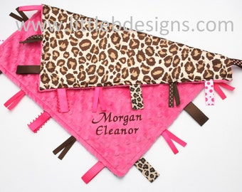 Personalized Tag Ribbon Blanket Lovey - Hot Pink Minky with Leopard Print Satin