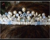 Real Pearl Tiara made of freshwater pearls, Blue agate and Blue Chalcedony, crystals and glass beads.