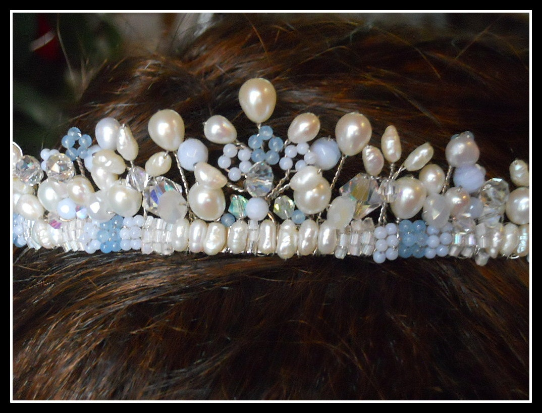 Real Pearl Tiara Made Of Freshwater Pearls Blue Agate And