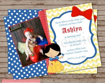Snow White Princess Photo Birthday Party Invitation