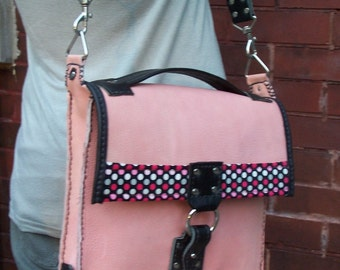 Pink and Black Leather Messenger Bag , Briefcase, Computer bag purse.Polka Dots. Very Mod!