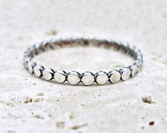 Single Sterling Silver Stacking Band of Tiny Dots - Cobblestone Path Pebble Stacking Ring