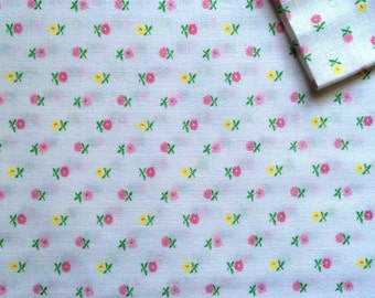 Vintage Fabric 80's Cotton, White, Pink, Yellow, Floral, Printed, Material, Textiles