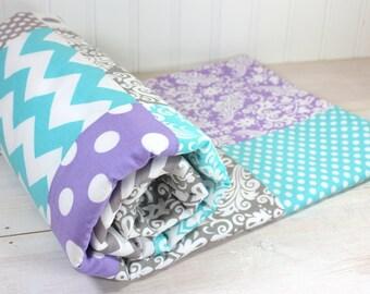 Baby Girl Blanket, Minky Blanket, Nursery Decor, Patchwork Blanket, Lavender, Purple, Plum, Aqua Blue, Gray, Grey Chevron