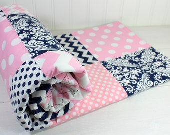Baby Girl Blanket, Minky Blanket, Crib Blanket, Nursery Decor, Baby Shower Gift, Baby Pink and Navy Blue Chevron, Dots, Damask and Stripes