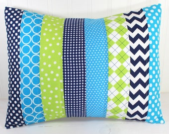 Pillow Cover, Baby Boy Nursery Decor, Patchwork Pillow Cover, Crib Bedding, 12 x 16 Inches, Turquoise, Navy Blue and Lime Green, Chevron Dot