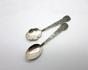 SALE Vintage 900 Silver Collectible Travel Sugar Salt Tea Spoons Columbia