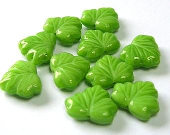 Czech Glass Green Leaf Beads - Czech Beads