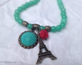 Parisian Dreams Jade Green and Antique Gold Necklace with Eiffel Tower and Rose