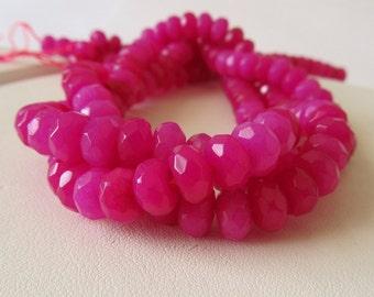 Hot Pink Agate Faceted Rondelles Half Strand