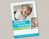 Bright Blue & Pale Chevron Birth Announcement (PRINT YOUR OWN) for boy or girl