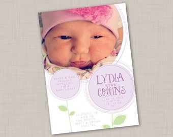 Purple Blooms Birth Announcement (GIRL) print your own