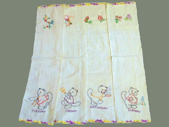 4 Vintage Embroidered Muslin Dish Towels Days of the Week Cats