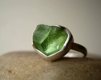 Custom Select your Rough Terminated Peridot Ring in Sterling silver - Tower Ring - LAST ONE!