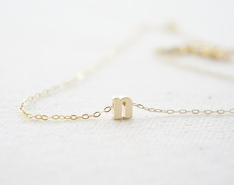 "Gold Letter, Alphabet, Initial  ""n"" necklace, birthday gift, lucky charm, layered necklace"
