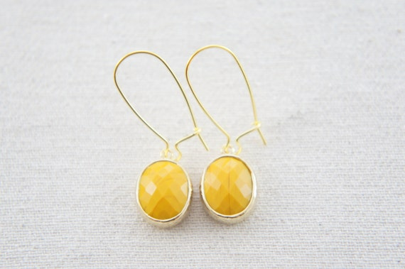 mustard yellow gold oval earrings - fall wedding, bridesmaid, retro, vintage, kidney ear wire