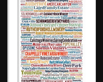 Napa Valley Map - Typography Neighborhoods of Print