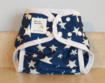 Medium PUL Diaper Cover with Leg Gussets- 10 to 20 pounds- Stars- 22012