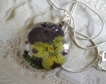 Ombre Purple-Yellow Pansy, Purple Alyssum, Feather Ferns Round Glass Pressed Flower Pendant-Nature's Art-Symbolizes Loyalty-Gifts Under 30